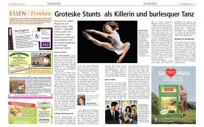 Groteske Stunts als Killerin und burlesquer Tanz